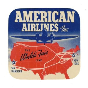 American Airlines decal advertising the New York and San Francisco World's Fairs, c. 1939